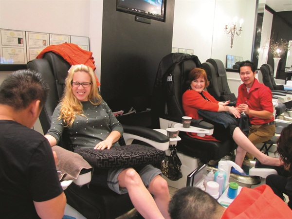 <p>JJ and I were thoroughly relaxed and entertained by our nail techs.</p>