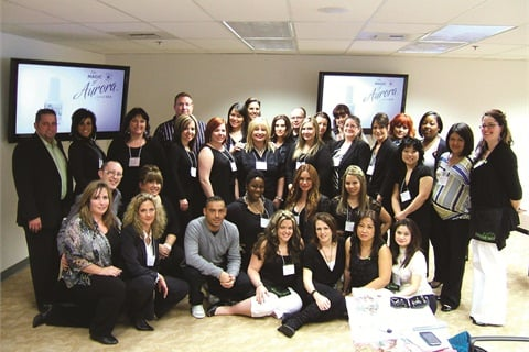 <p>The staff, instructors, and educators at Hand & Nail Harmony take a minute for a quick group photo. The seminar had 22 domestic educators and nine from outside the U.S.</p>