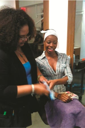<p>Makong (left) participatied in the NailPros4Obama Campaign inside Maisie Dunbar Spa Lounge.</p>