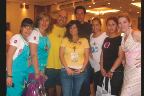 <p>De La Cruz with Greg Salo (third from left) and students at Relax and Learn in Mexico.</p>