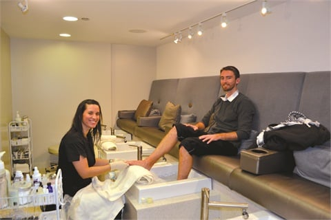 <p>Yesenia Colon, who has been a nail tech at Mario Tricoci for 15 years, gave Tim a thorough pedicure.</p>