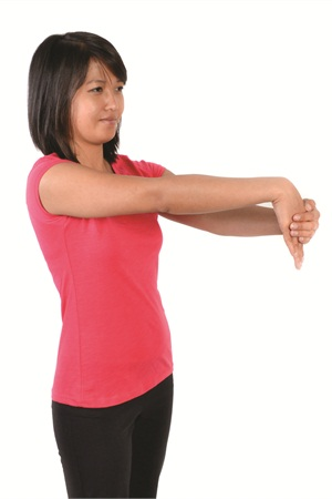 <p>Change direction with the same hand. Use your left hand to gently bend the right wrist and fingers forward, with palm facing in, until you feel a mild stretch. Hold for 15 seconds. Repeat steps one and two, alternating between the steps four times for a total of two minutes, the amount of time the soft tissue needs to increase its range of motion. Switch arms and alternate between steps one and two four times with 15-second holds.</p>