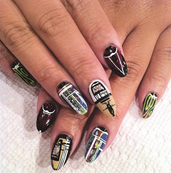 <p>Nail art by Tacarra Sutton (Spifster), as captured by mobile device </p>