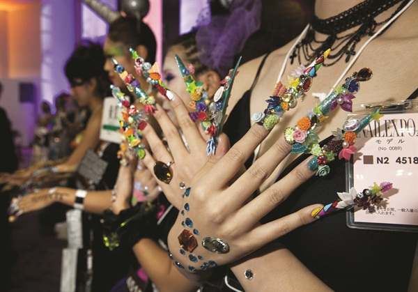 <p>Nail Queen contestants at the Tokyo Nail Expo. Photo by Adroniki Christodoulou </p>