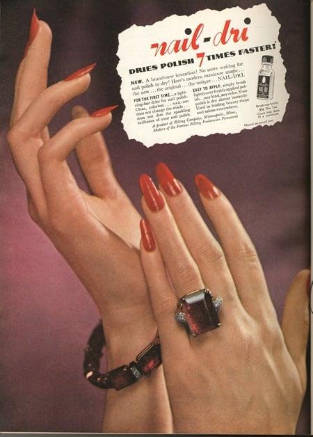 Period nail-product advertisement for Nail-Dri