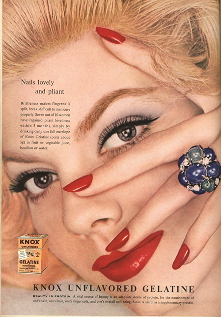 <p>Period nail-product advertisement for Knox Gelatin</p>