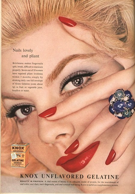 Period nail-product advertisement for Knox Gelatin