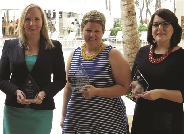 <p>PBA's manager of government affairs, Bridget Sharpe (right), accepted the award for the association's work on the campaign.</p>