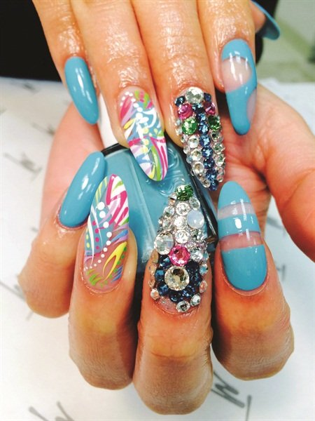 Mario tricoci nail artist wins with turquoise style nails magazine and thats exactly what they had at mario tricoci hair salons day spas when all 146 nail techs from its 15 chicago area locations prinsesfo Image collections