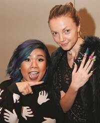 """Winnie Huang's bird-embellished nail design is inspired by Tippi Hedren. """"Tippi is fierce and fashionable, and that's what I wanted these nails to be,"""" Huang says."""