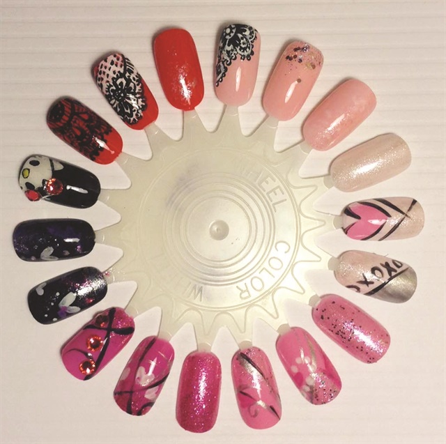 <p>Rachael Peterson painted this wheel using OPI's Hello Kitty Collection.</p>