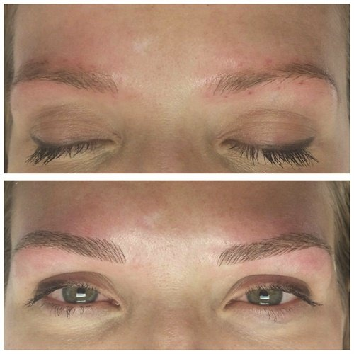 <p>Before and after images demonstrate the result of the Microblading 3-D Brow Enhancement service.</p>