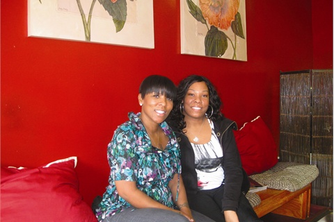 """<p>Shine owner Ericka Bates (left) says her salon Shine, located in Chicago's South Shore neighborhood, proves """"You don't have to go downtown to be treated like a queen."""" """"Or King"""" chimes in Randi """"Bink"""" Slack, the salon manager and Ericka's sister.</p>"""