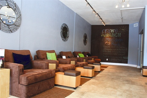Crave's chairs are larger than the average salon chair and provide enough room to seat a parent and child together comfortably.