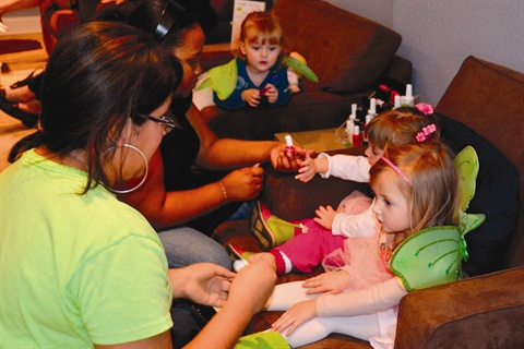 <p>Cutie Crave party guests are treated to a wide variety of services, including manis and pedis with Piggy Paint eco-friendly nail polish.</p>