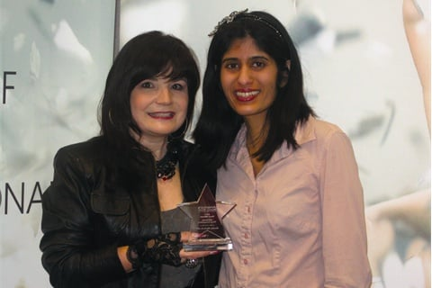Congratulations to Michelle Sproat (left, with NAILS managing editor Sree Roy) of Inspirations Salon in Kingsville,  Ontario, Canada, for winning the 2011 Stars Photo Contest in the nails  category.