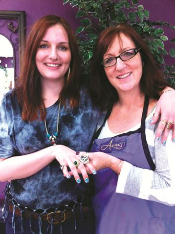 <p>Though she may be biased because her nail tech (and mother) Lisa Anderson (right) is such a skilled acrylic user, Richelle still prefers the feel of acrylics over gels.</p>