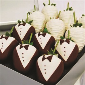"<p>What else but chocolate-covered strawberries for the dessert table? <em>Photo courtesy <a href=""http://ChocolateCoveredCompany.com"">ChocolateCoveredCompany.com</a></em></p>"