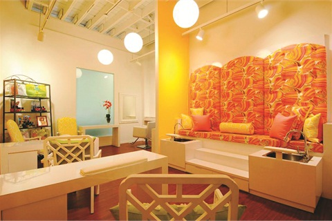 <p>Bright, colorful, and private, the nail lounge at L Spa gives clients the experience of a standalone salon.</p>