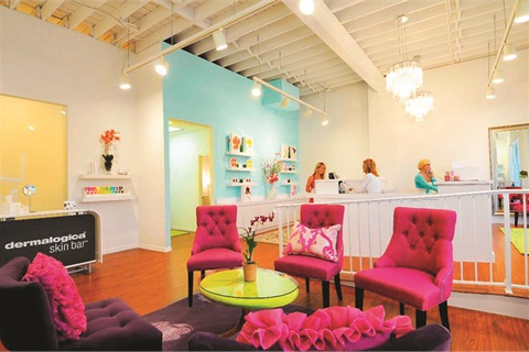 "<p>One way LeeAnne Swor extends continuity between the boutiques and the spa is through her signature colors featured in the spa reception area: ""L Blue"" (turquoise), purple, fuchsia, and white.</p>"
