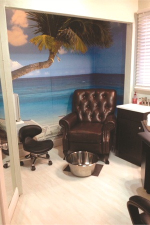 <p>While many salons are mapping out floor space to expand their pedi area, Resta chose to create a quiet oasis where clients receive one-on-one attention.</p>