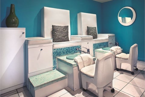"<p class=""NoParagraphStyle"">Since pedicures are Aqua's forte, the salon has three separate pedicure alcoves, each seating up to three or four clients at a time.</p>"