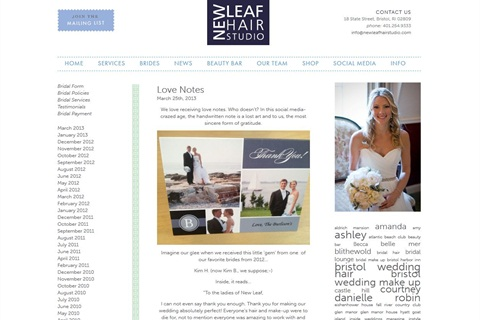 <p>Nicole Cabral advertises her salon's blog on the Knot.</p>