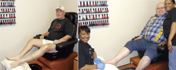 [left] Client Mr. Roger has been coming in for four years. Before he started getting pedicures he used to cut his toenails with a pair of pliers [right] Brenda McCormick (left) and Rosemary Ladd (right) pose with client Mr. Greene, a regular at Creative Nails' special men's night on Mondays.