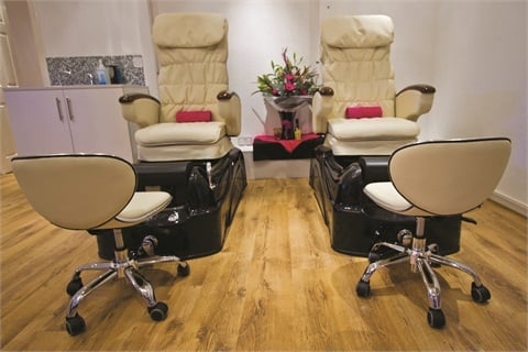 Indulgent spa pedicure chairs contribute to the salon's relaxed and comfortable yet social environment. In the coming months, Polish Nail & Beauty plans to expand its pedicure area.