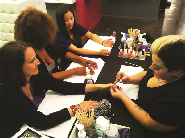 <p>Naja Rickette sets a record by polishing 69 people in an eight-hour period.</p>