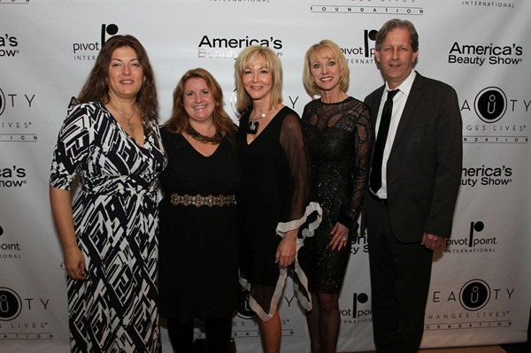 NAILS Michelle Mullen and Hannah Lee with Cosmetologists Chicago president Denise Provenzano, BCL president Lynelle Lynch and Pivot Point chairman/CEO Robert Passage.