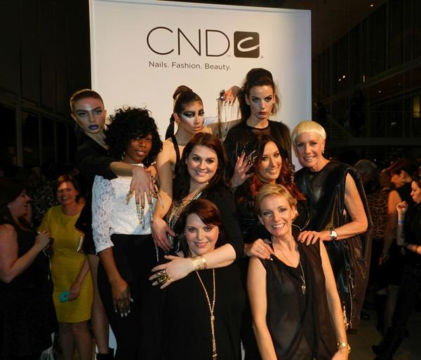NEXTGEN nail artists Lavette Cephus, Heather Davis, and Ashley Craig with their models and CND's Jan Arnold and mentors Shelena Robinson and Amanda Fontanarrosa.