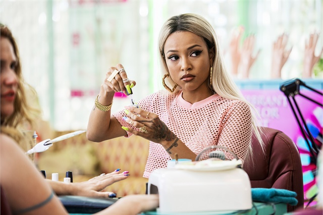 "<p>Karrueche Tran plays a nail tech in TNT's ""Claws.""</p>"
