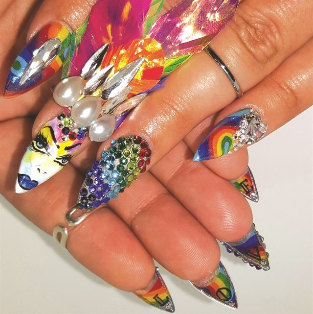 Pride Nails: Rainbow Jeweled Nails With Underside Art - Style ...