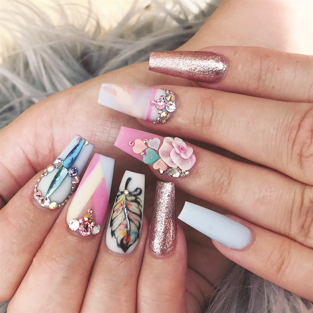 To Create The Blocking Design Start By Lying Pink Acrylic Close Cuticle Wait Until It Becomes Matte Then Cut Into A Triangle Shape