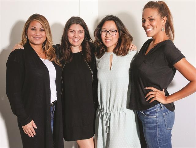<p>Cover tech Alisha Rimando, NAILS executive editor Beth Liesay, NAILS art director Yuiko Sugino, model Ariel Paredes</p>
