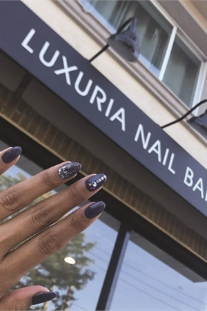 The team offers nail art add-ons, the most popular of which is Swarovski accents.