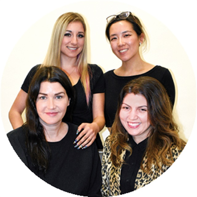 <p>Front: Cover tech Bel Fountain-Townsend, <br />Executive Editor Beth Livesay<br />Back: Model Ciara Pisa, Art Director Yuiko Sugino</p>