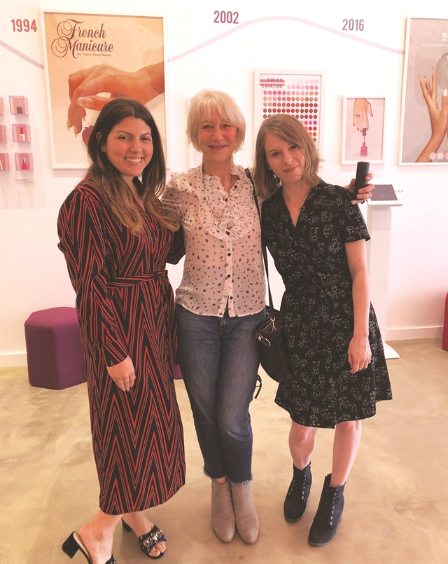 <p>Senior editor Katherine Fleming (far right) and I came under the influence of Dame Helen Mirren (center), who happens to love Orly nail lacquer. We ran into her at Orly Color Labs in L.A.</p>