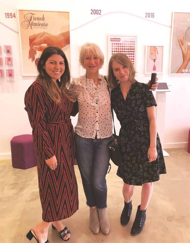 <p>You never know who you'll run into at the Color Lab! Senior editor Katherine Fleming (right) and I ran in to Dame Helen Mirren on our visit!</p>
