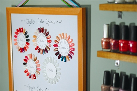 Nail color wheel a great color display idea style nails magazine stacy senecal owner of libelle in geneva ny came up with an attractive and convenient method of displaying color choices in her salon prinsesfo Image collections