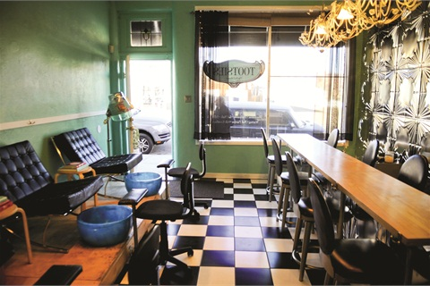 """<p class=""""NoParagraphStyle"""">Tootsies' interior is comprised of one large room equipped with two nail bars and seven individual pedicure chairs. The openness of the space makes the salon's atmosphere exceedingly social.</p>"""
