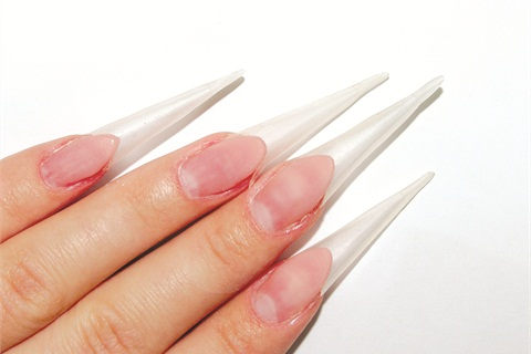 Prep The Natural Nails And Place Stiletto Forms 2 Elongate Nail Beds Using Camouflage Acrylic Spread A Thin Layer Of Transparent