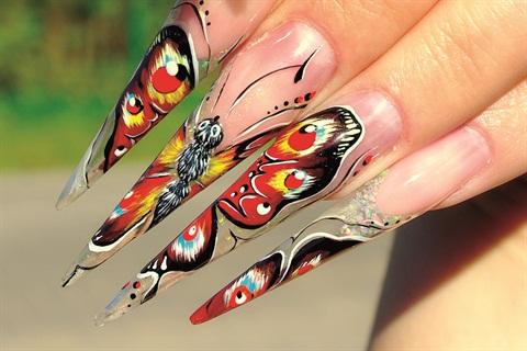 Stiletto Butterfly Mural Technique Nails Magazine