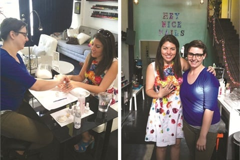 <p><strong>[left]</strong> While applying nail art to my fingers, Ginny Geer had her camera roll open to view her inspiration photo. She often snaps pictures and saves them for future nail art ideas. <strong>[right]</strong> Me (left) with salon owner and nail artist Ginny Geer.</p>