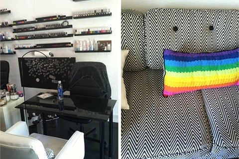 A chevron print couch greets clients and is accented with a rainbow pillow.