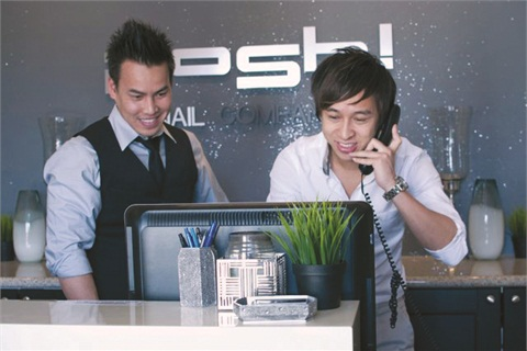<p>Servet Nguyen (left) and Nick Do enjoy knowing they have achieved their goal of opening their dream salon.</p>