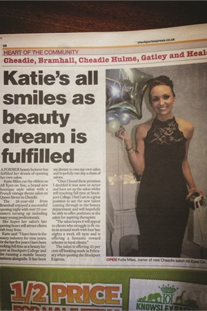 <p>All Eyes on You salon in Manchester, England, was featured in a large story in the <em>The Stockport Express</em> because owner Katie Miles initiated contact with a reporter there. The article is now in a frame inside the salon — proof of the power of a press release.</p>
