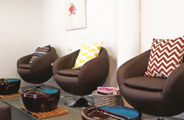 UberChic Nail Boutique's pedicure stations are pipeless in keeping with the salon's emphasis on eco-friendliness and health.