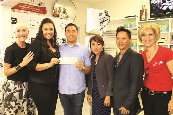 <p>From left to right are Jan Arnold (CND co-founder and style director), Heather Widler (BCL), Johnny Ho (Sunny Beauty Supply), Annie Vo (Sunny Beauty Supply), Tony Nguyen (Sunny Beauty Supply), and Stacey D'Abate (CND sales manager).</p>